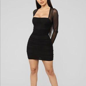 Black Mesh Long Sleeve Mini Dress